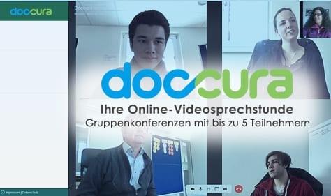 Bei Doccura, Ihre Online-Videosprechstunde sind Gruppenkonferenzen mit bis zu 5 Teilnehmern möglich, beispielsweise zwischen Hausarzt, Facharzt und Patient.
