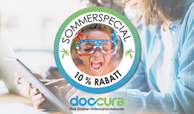 Doccura-Videosprechstunde für Kinderärzte. Unser Sommerspecial – 10 % Rabatt auf alle Tarife 😎